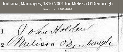 ODenbaugh_Melissa_mother_Ancestry.com - Indiana, Marriages, 1810-2001