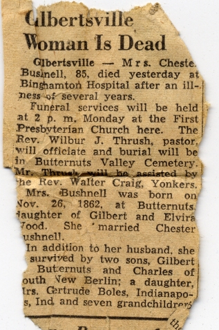 Mom's Billfold Julia Caroline Wood - Death Notice